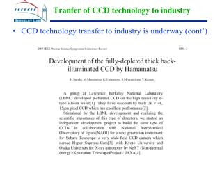Tranfer of CCD technology to industry