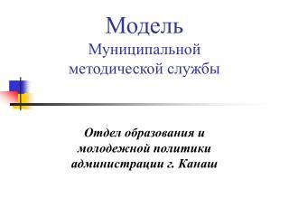 Модель Муниципальной методической службы
