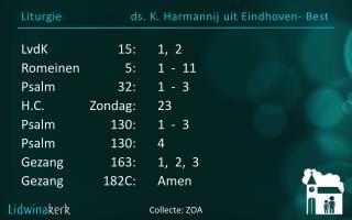 Liturgie ds . K.  Harmannij ui t  Eindhoven- Best