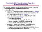 Template for SIP Forum Briefings   Page One 45 Minute Presentations