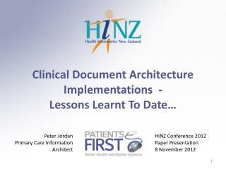 HINZ Conference 2012 Paper Presentation 8 November 2012