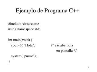 Ejemplo de Programa C++