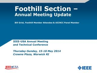 IEEE-USA Annual Meeting  and Technical Conference Thursday-Sunday, 15-18 May 2014����������