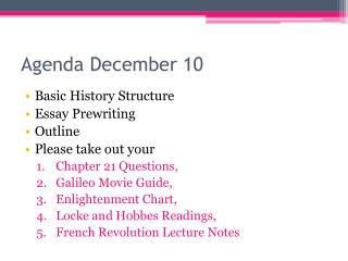 Agenda December 10