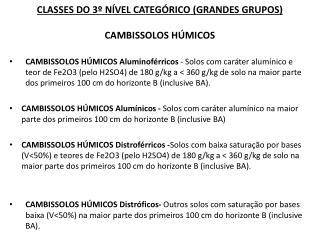 CLASSES DO 3º NÍVEL CATEGÓRICO (GRANDES GRUPOS)  CAMBISSOLOS HÚMICOS