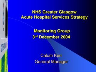 NHS Greater Glasgow Acute Hospital Services Strategy