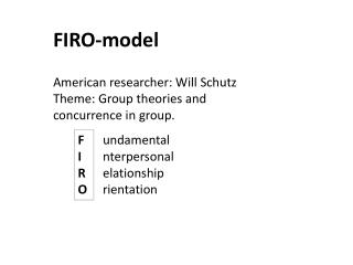 FIRO-model  American researcher: Will  Schutz Theme: Group theories and concurrence in group.