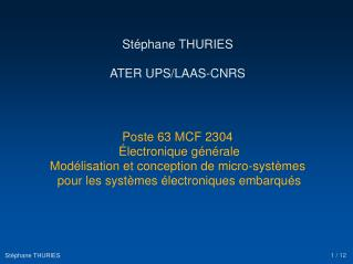 Stéphane THURIES ATER UPS/LAAS-CNRS