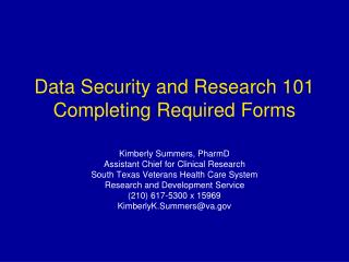 Data Security and Research 101  Completing Required Forms