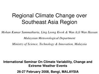 International Seminar On Climate Variability, Change and Extreme Weather Events