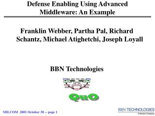 Defense Enabling Using Advanced Middleware: An Example