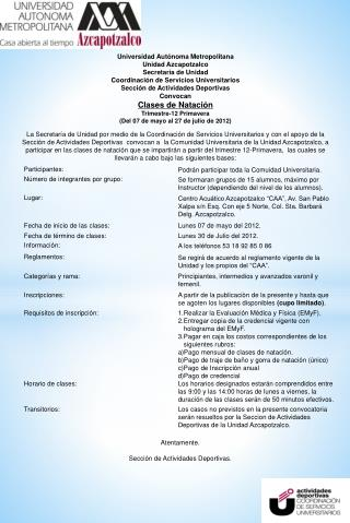 Universidad  Autónoma  Metropolitana Unidad Azcapotzalco Secretaría  de Unidad
