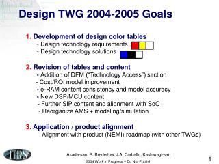 Design TWG 2004-2005 Goals