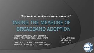 TAKING THE Measure of Broadband Adoption