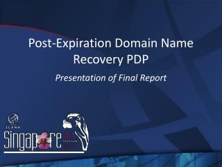 Post-Expiration Domain Name Recovery PDP