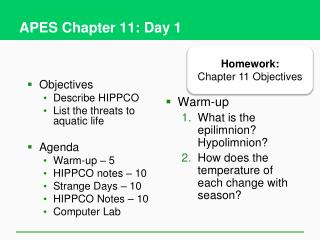 APES Chapter 11: Day 1