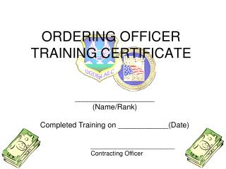 ORDERING OFFICER  TRAINING CERTIFICATE