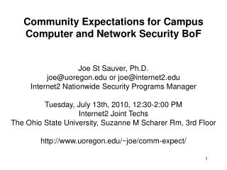 Community Expectations for Campus Computer and Network Security BoF