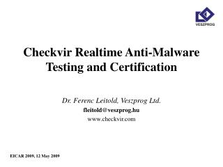 Checkvir Realtime Anti-Malware Testing and Certification