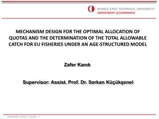 Zafer Kanık  Supervisor: Assist. Prof. Dr. Serkan Küçükşenel
