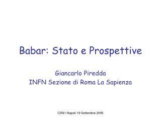 Babar: Stato e Prospettive