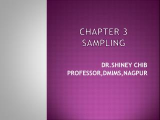 CHAPTER 3 SAMPLING
