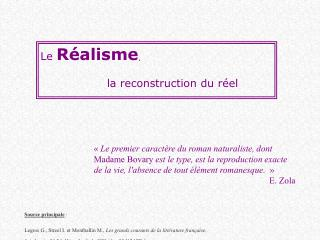 Le R alisme,   la reconstruction du r el
