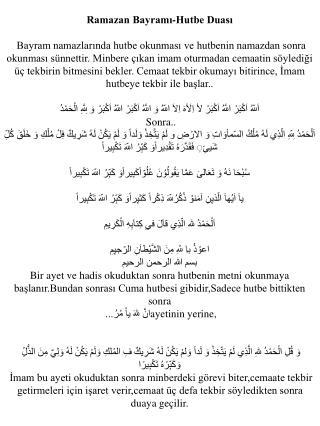 ramazan bayrami hutbe dualari