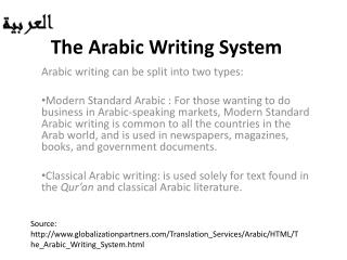 The Arabic Writing System