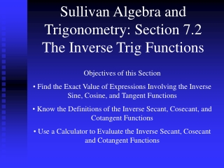 Sullivan Algebra and Trigonometry: Section 7.3 Trigonometric Identities
