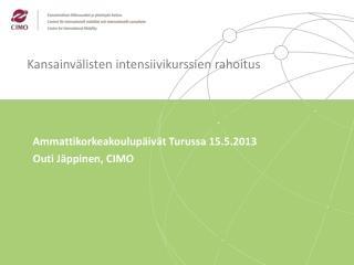 Kansainvälisten intensiivikurssien rahoitus