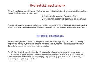 Hydraulické mechanismy