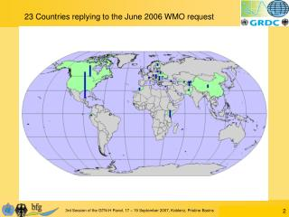 23 Countries replying to the June 2006 WMO request