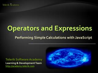 Operators and Expressions