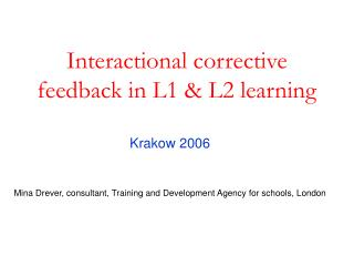 Interactional corrective feedback in L1  L2 learning