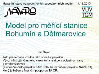Model pro měřící stanice Bohumín a Dětmarovice