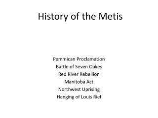 History of the Metis