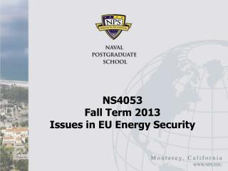 NS4053  Fall Term 2013 Issues in EU Energy Security
