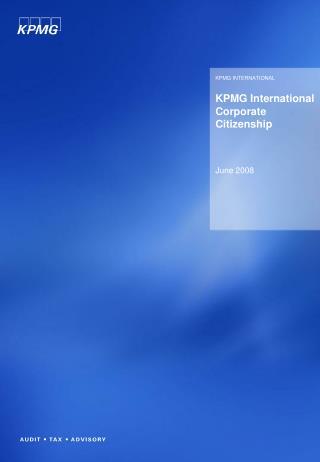 KPMG International Corporate Citizenship