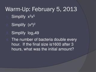 Warm-Up: February 5, 2013