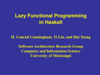 Lazy Functional Programming  in Haskell
