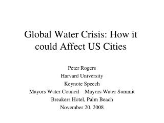 Global Water Crisis: How it could Affect US Cities