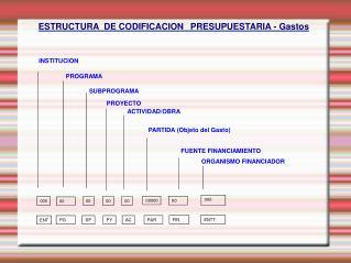 ESTRUCTURA  DE CODIFICACION PRESUPUESTARIA - Gastos
