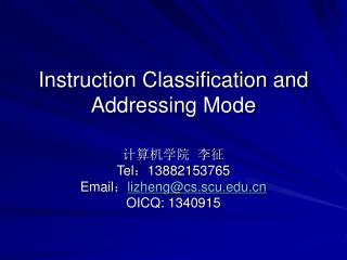 Instruction Classification and Addressing Mode
