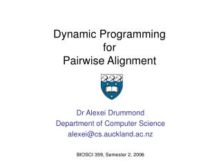 Dynamic Programming for  Pairwise Alignment