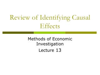 Review of Identifying Causal Effects