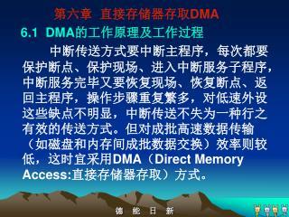 第六章  直接存储器存取 DMA      6.1  DMA 的工作原理及工作过程