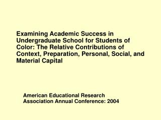 American Educational Research Association Annual Conference: 2004