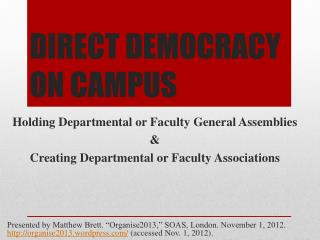 DIRECT DEMOCRACY ON  CAMPUS