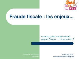 Fraude fiscale: les enjeux...
